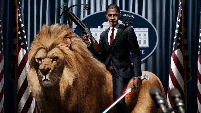 Illustration for article titled And now, President Obama riding a lion while wielding a lightsaber