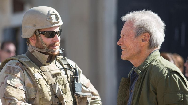 Eastwood on the set of American Sniper
