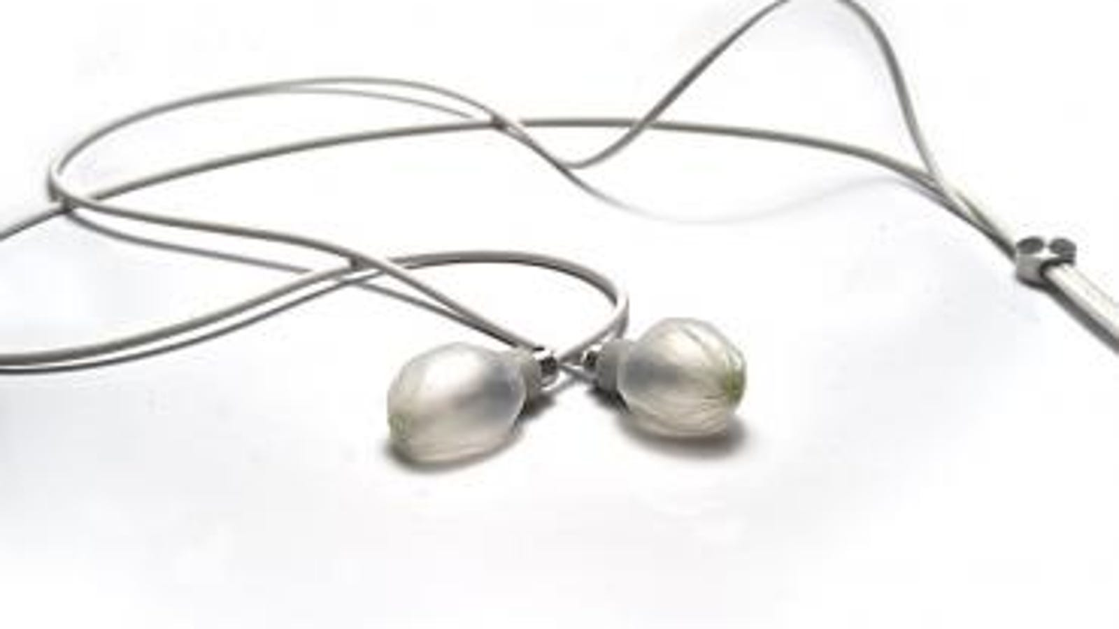 pearl earphone necklace with rhinestone