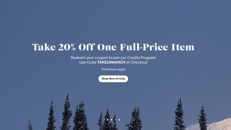 20% Off One Full-Price Item | Backcountry | Promo code TAKE20MARCH