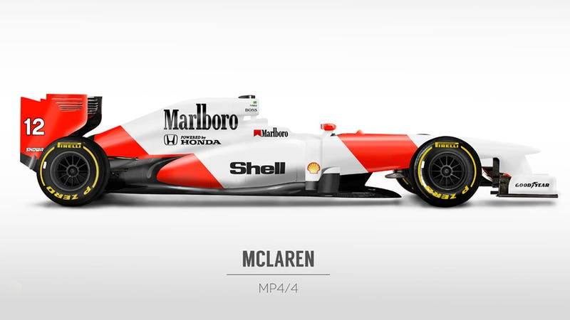 Illustration for article titled Classic Formula 1 Liveries On Modern F1 Cars Are Plain Awesome