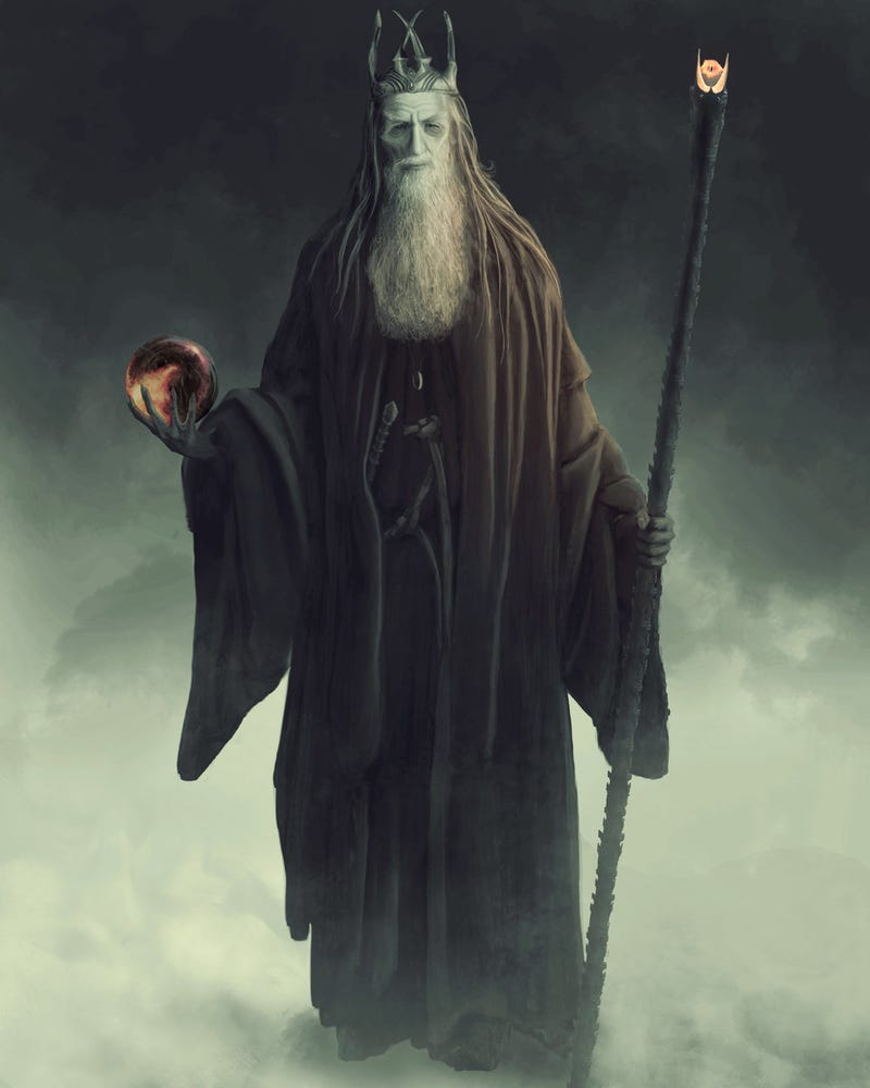 Illustration for article titled Gandalf the Black imagines the wizard corrupted by the One Ring