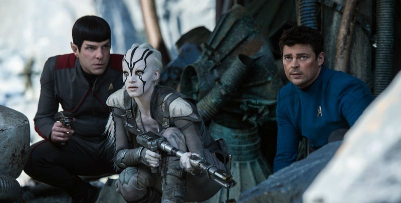 Spock (Zachary Quinto), Bones (Karl Urban) and Jaylah (Sophia Boutella) in Star Trek Beyond. All Images: Paramount