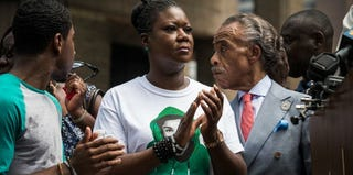 "Sybrina Fulton and the Rev. Al Sharpton at a recent ""Justice for Trayvon"" rally in New York City. (Andrew Burton/Getty Images)"
