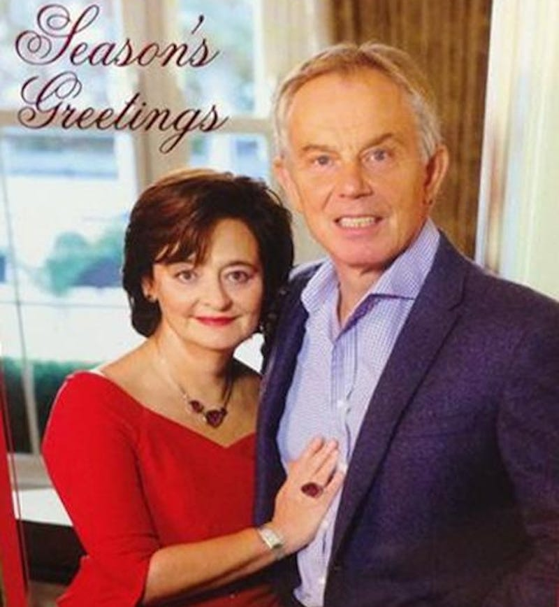 Illustration for article titled Season's Greetings from Tony Blair and His Worst, Creepiest Smile