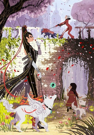 Illustration for article titled Bayonetta Takes Amaterasu For A Walk