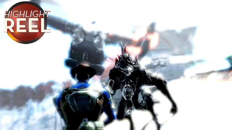 Fallout Player Slams Deathclaw Into Vertibird