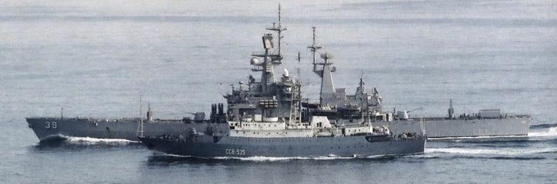 The Vishnya-class intelligence ship Kareliya, similar to the Leonov, next to the U.S. Navy cruiser USS Texas back in 1988. Photo credit: U.S. Navy