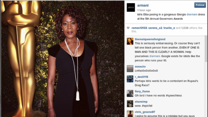 Illustration for article titled Armani Confuses Alfre Woodard with Idris Elba, Prompts #armanicaptions