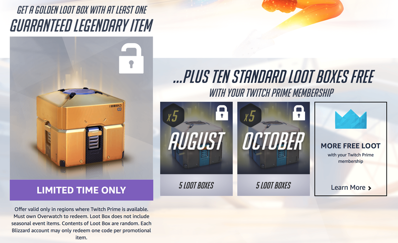 Free Overwatch Loot Boxes for Twitch Prime Members