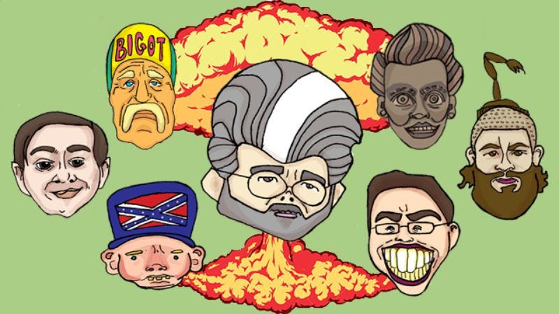 Clockwise from top right: That terrifying Lucille Ball statue, The Fat Jew, Jared Fogle, George Lucas, the Confederate flag, Martin Shkreli, and Hulk Hogan (Illustration by Meredith Kachel, meredithkachel.com)