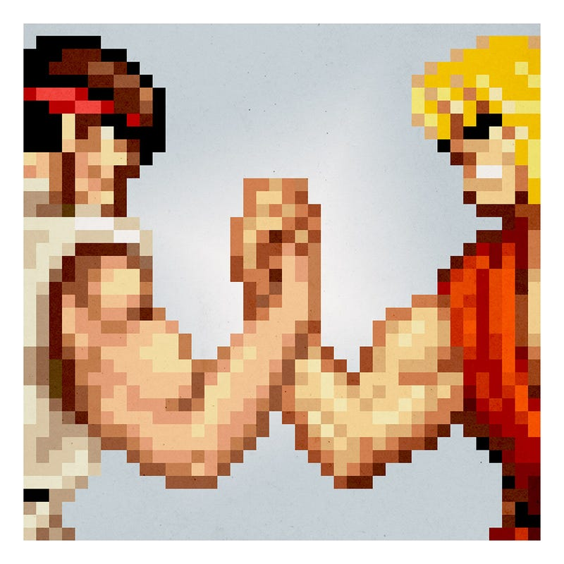 Street Fighter meets Predator in this piece by Aled Lewis. All Images: iam8bit