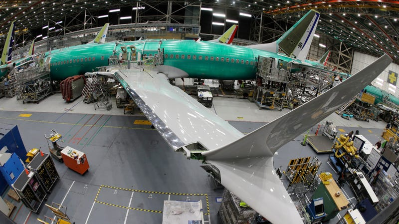 A Boeing 737 MAX 8 jet being assembled at a company facility in Renton, Washington, on March 27, 2019.