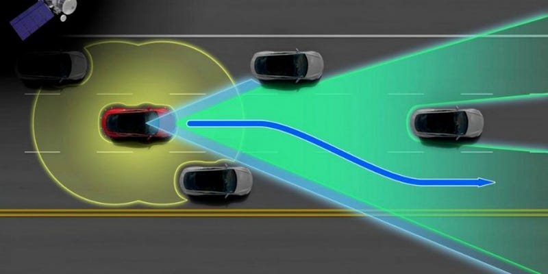 Illustration for article titled For Now Your Tesla Will Only 'Autosteer' Up To 45 MPH