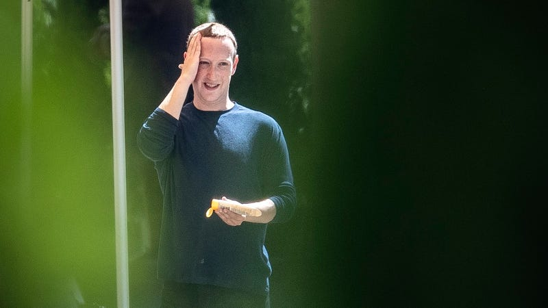 Human billionaire Mark Zuckerberg applies sunscreen to his human head using his human hand at the annual Sun Valley Conference on July 12, 2019 in Sun Valley, Idaho.