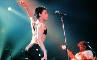 This photo taken Aug. 25, 1986, shows Prince performing onstage during his concert at the Zenith venue in Paris.PASCAL GEORGE/AFP/Getty Images