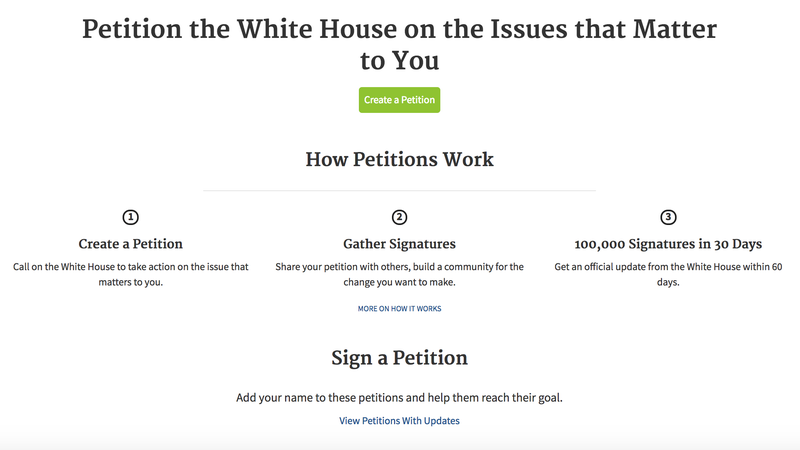 Image: petitions.whitehouse.gov