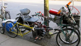 Illustration for article titled Is a Bike Still a Bike When It's Running Off Car Batteries and Has a Beer Cooler?