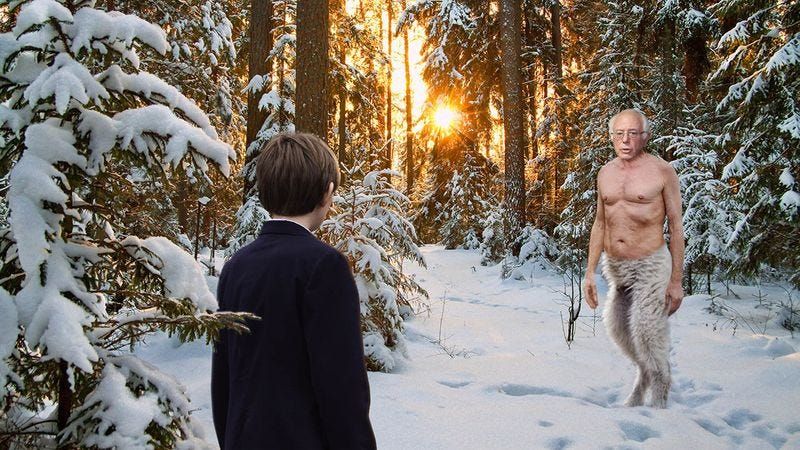 Barron Trump and a magical faun with Bernie Sanders' upper body.