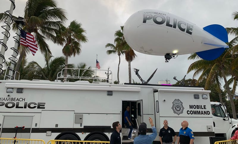 Miami Beach Police begin setting up a surveillance blimp on December 28, 2018
