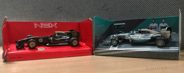 From L to R: Lotus Exos T125 in John Player Special livery & Mercedes F1 W05 Hybrid