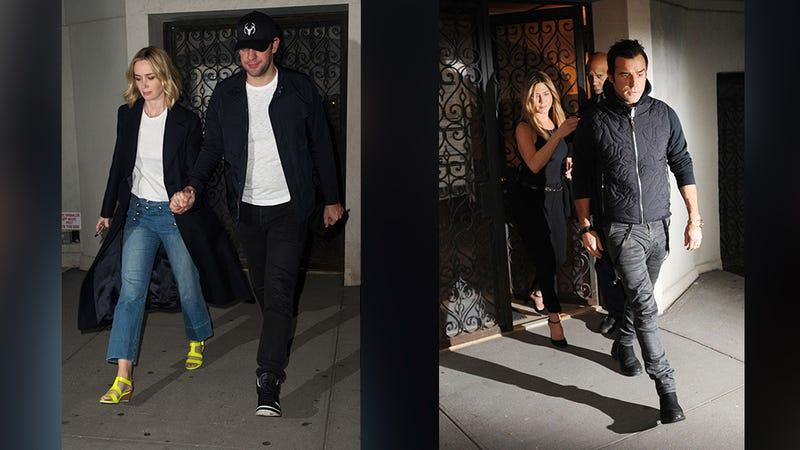 Left: Emily Blunt and John Krasinki leaving Jennifer Aniston and Justin Theroux's house last night. Right: Aniston and Theroux leaving their home on Friday night. (Images via Splash)