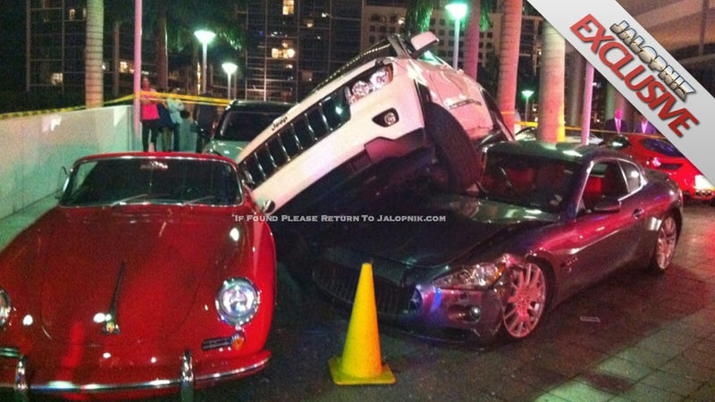 Illustration for article titled Valet Crashes Maserati Under Jeep And Into $200,000 Porsche [VIDEO]