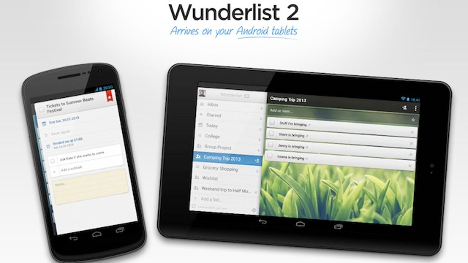 Wunderlist for Android Supports Tablets, Manages Your To-Dos