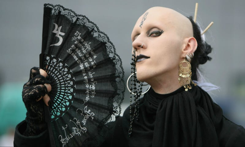 A participant of the annual Wave Gothic Festival, Friday, 25 May 2007 in Leipzig, Germany.
