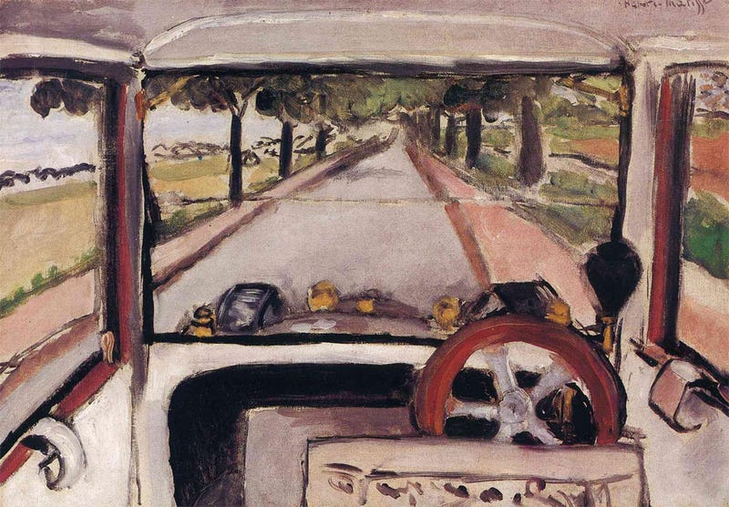 Illustration for article titled This Is The First Painting From A Driver's POV Ever