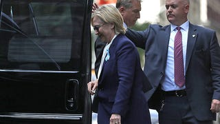 Democratic presidential candidate Hillary Clinton leaving the home of her daughter, Chelsea Clinton, on Sept. 11, 2016, in New York CityJustin Sullivan/Getty Images