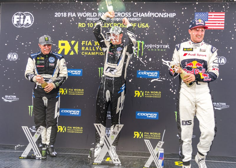 Johan Kristoffersson (center) took the crown for WRX at COTA. Petter Solberg (left) was the expected winner following his Q1 finish yesterday.