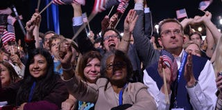 Obama supporters in Chicago on Election Day (Jewel Samad/AFP/Getty Images)