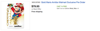 Illustration for article titled Gold Amiibos Already Sold Out, Going For Stupid Prices On eBay