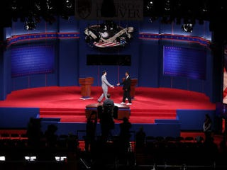 Stand-ins at a debate dress rehearsal.(Getty Images)