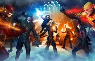 """Illustration for article titled Grant Gustin Calls Arrow, Flash And Legends Of Tomorrow """"All One Show"""""""