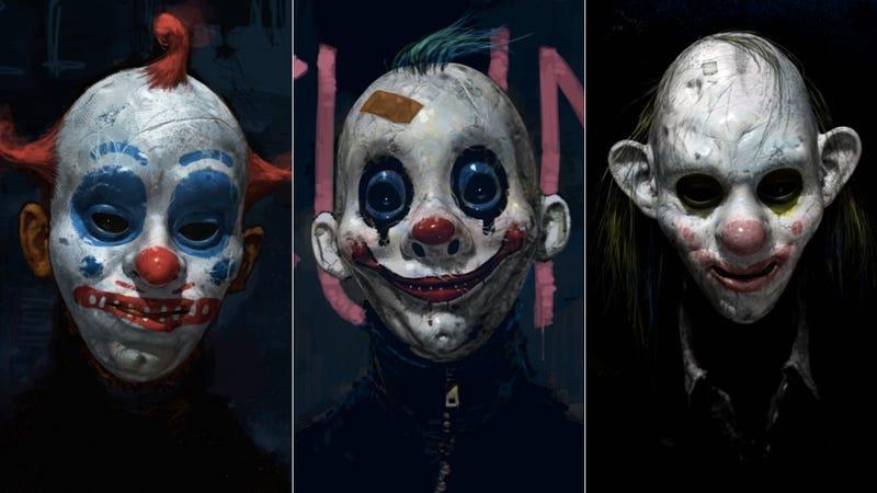 Illustration for article titled Never-seen Dark Knight concept art reveals the terrifying origins of the Joker's Clown Gang