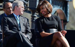 Illustration for article titled Caption This Photo: FLOTUS and George W. Bush in Selma