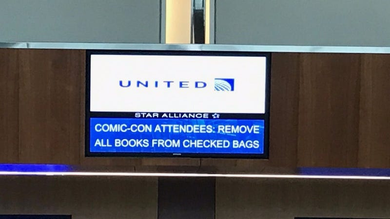 United Airlines tells would-be flyers that comic books cannot be checked, which is false, according to the TSA, Image: Twitter
