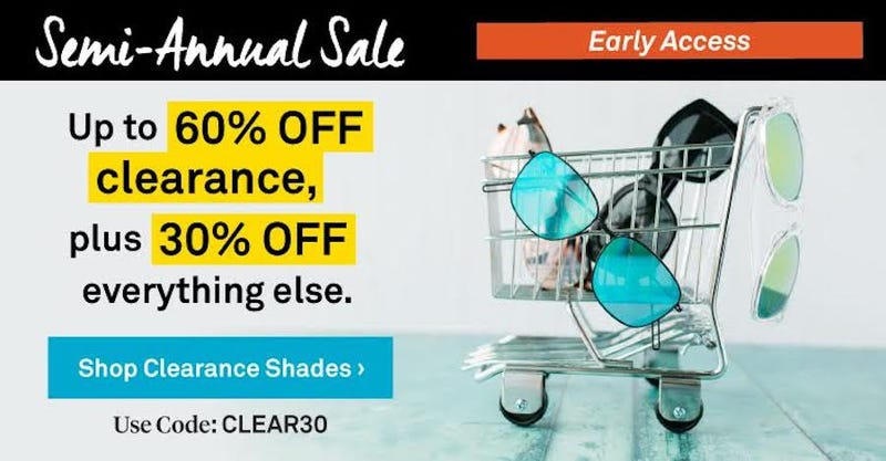 60% Off Clearance, 30% Everything Else | Sunglass Warehouse | Promo code CLEAR30