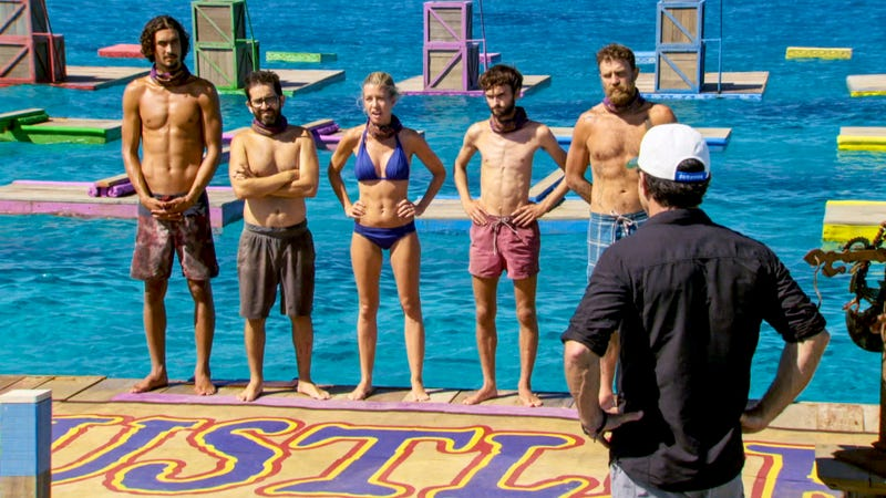Jeff Probst and the final five (Screen Grab/CBS)