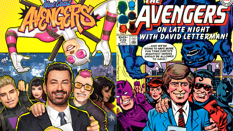 West Coast Avengers #4's cover art, and the 1984 Avengers cover that inspired it.