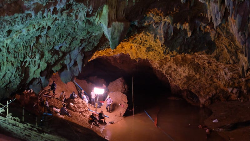 CHIANG RAI, THAILAND - JUNE 28: Rescuers install a water pump inside Tham Luang Nang Non cave on June 28, 2018 in Chiang Rai, Thailand.