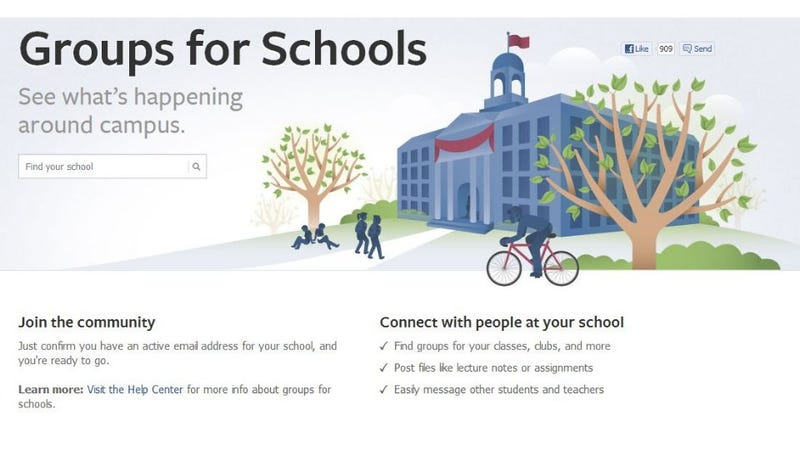 "Illustration for article titled Facebook's ""Groups for Schools"" Is a Walled Garden of Higher Education"
