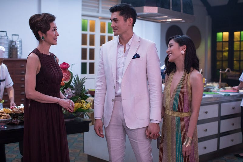 Michelle Yeoh (left), Henry Golding, and Constance Wu in Crazy Rich Asians