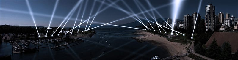 Illustration for article titled Control 20 Spotlights in Vancouver's English Bay From Your Web Browser