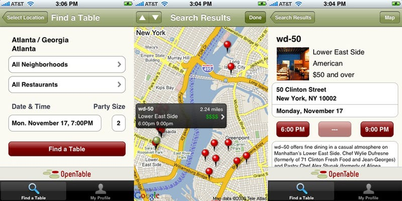 OpenTable IPhone App Easiest Most Soulless Restaurant Reservations - Open table reservation system