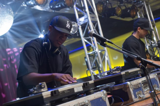 Scene from Straight Outta Compton: Corey Hawkins as Dr. Dre and Neil Brown Jr. as DJ YellaIMDb.com