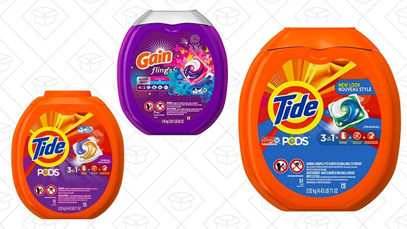 Tide PODS 3 in 1 HE Turbo Laundry Detergent Pacs, Original Scent, 81 Count Tub | $16 | Amazon | Clip $3 off couponGain Flings Scent Duets Laundry Detergent Pacs, Wildflower and Waterfall Scent, 61 Count | $16 | Amazon | Clip $3 off couponTide PODS 3 in 1 HE Turbo Laundry Detergent Pacs, Spring Meadow Scent, 81 Count Tub | $17 | Amazon | Clip $3 off coupon