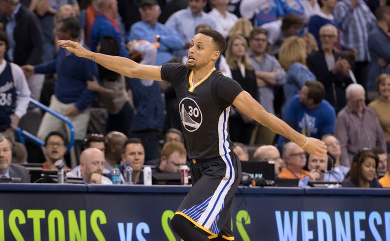 Stephen Curry of the Golden State Warriors celebrates during an NBA game against the Oklahoma City Thunder on Feb. 27, 2016, in Oklahoma City.J. Pat Carter/Getty Images